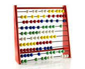 Abacus with red green blue and white balls — 图库照片