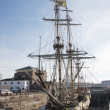 The russian frigat Shtandart for renovation in the dry dock - Stock Photo