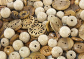 Wooden tailor buttons — Stock Photo