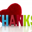 Thanks with red heart — Stock Photo