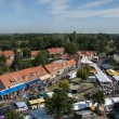 View from tower to the market - Stock Photo