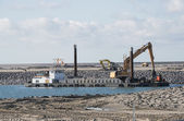 Dredger ship working at Europoort in Holland — Stock Photo
