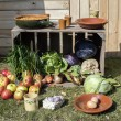Outside still life with food - Stock Photo