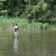 Man busy with flyfishing — Stock Photo