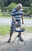 Man coocking on the camping — Stock Photo