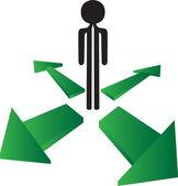Hombre con qué opción de dirección — Vector de stock