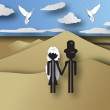 Couple honeymoon travel — Imagen vectorial