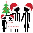 Family merry christmas — Stock Vector