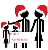 Family merry christmas — Stock Vector