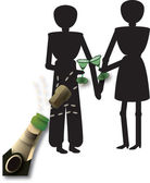 Couple with champagne — Stock Vector