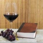 velha Bíblia e vermelho vinho com uvas — Foto Stock #33062895