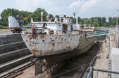 Ship in the only working drydock in holland — Stock Photo