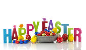 happy easter eggs and chicks — Stock Photo