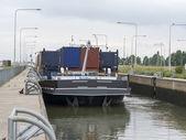 Ship in lock in netherlands — Stock Photo