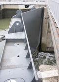 Big metal river sluice door — Stock Photo