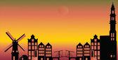 Amsterdam city skyline — Cтоковый вектор