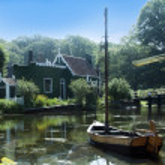 Dutch bridge and water — Stock Photo #9356063