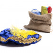 Presents in bag with hat of black Piet — Stock Photo