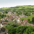 Hills and medieval village of Rochepot in France — Stock Photo