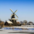Beautiful old Dutch woodmill of 1903 in winter — Stok fotoğraf
