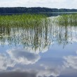 Reflections of clouds in lake. - Stock Photo