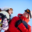 Girl and boy with snowboards - Foto de Stock
