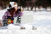 单板滑雪的女孩 — 图库照片