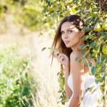Woman in pear garden — Stock Photo