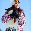 Girl with snowboard — Stock Photo