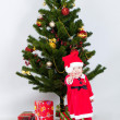Boy near christmas pine — Stock Photo #15934901