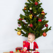 Stock Photo: Boy near christmas pine