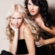 Two girls with fur coat — Stock Photo #16969659