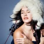 Girl in fur hat — Stock Photo #16969683