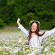 Girl on the meadow - Stock Photo