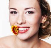 Portrait with dental braces — Stock Photo