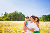 Family on the meadow — Stock Photo