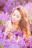 Girl on the lavender field — Stock Photo