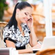 Business-Frau in café — Stockfoto