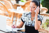 Business woman in cafe — Stock Photo