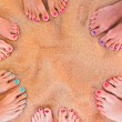 Woman feet on the sand — Stock Photo #29275097