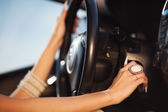 Hands on the steering wheel — Stockfoto