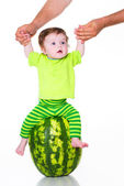Little boy with watermelon — Stock Photo