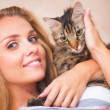 Stock Photo: Beautiful womwith cat
