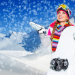 Beautiful woman with snowboard — Stock Photo