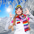 Beautiful woman on the ski resort — Stock Photo