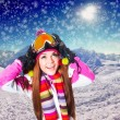 Girl on the ski resort — Stock Photo