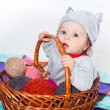 Little boy in the basket — Stock Photo