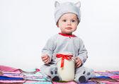 Little boy in cat costume — Stock Photo