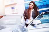 Woman near the car — Stock Photo
