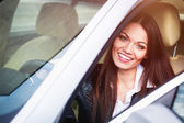 Woman sitting in the car — Stock Photo